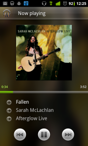 Google Music - song view on Android